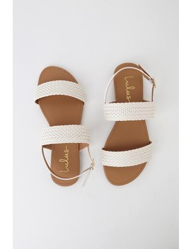 Blaise White Flat Sandals by Lulus