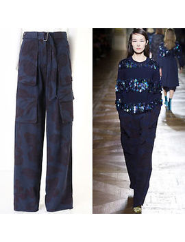 "Runway Dries Van Noten Aw15 Palese Blue Cloud Utility Wide Leg Pants Fr34 28"" by Dries Van Noten"