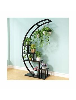Khkfg New Half Moon Wrought Iron Living Room Home Multi Level Indoor Balcony Decorative Flower Stand 143cm X60cm X35cm (Color : Black Frame Blackboard) by Khkfg