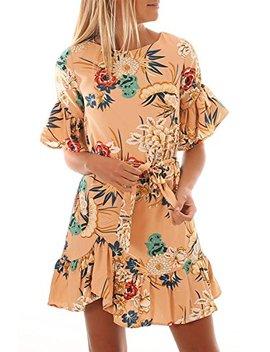 Hotapei Women's Floral Pattern Ruffle Hem Chiffon Dress by Hotapei