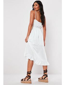 White Broderie Anglais Cami Midaxi Dress by Missguided