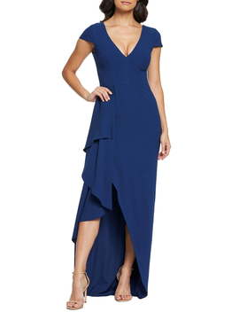 Alma Cap Sleeve Waterfall Crepe Gown by Dress The Population