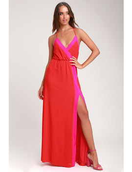 Bright Side Coral Red Color Block Maxi Dress by Lulus