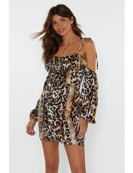 Sleeve Me Alone Cold Shoulder Animal Dress by Nasty Gal