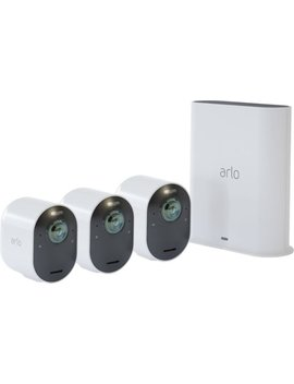 Ultra 3 Camera Indoor/Outdoor Wire Free 4 K Hdr Security Camera System   White by Arlo