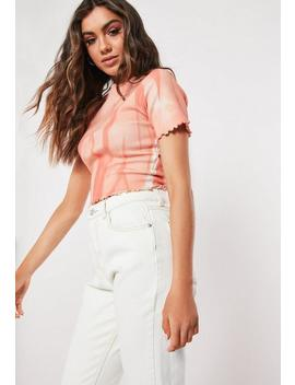 Pink Tie Dye Lettuce Hem T Shirt by Missguided