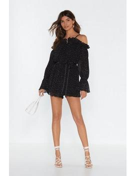 Dot The Message Ruffle Colder Shoulder Romper by Nasty Gal
