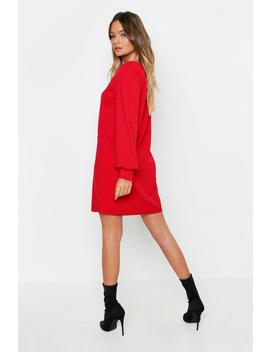 Pearl Button Through Balloon Sleeve Shift Dress by Boohoo