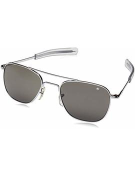 American Optical Original Pilot Eyewear 55mm Silver Frame With Bayonet Temples And True Color Gray Glass Lens by Ao Eyewear