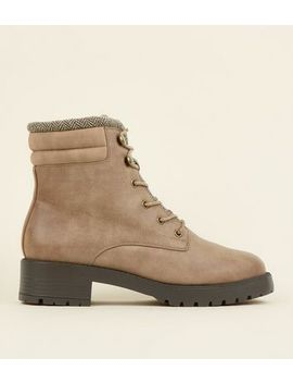 Light Brown Leather Look Chunky Hiker Boots by New Look