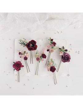 Flower Hair Pins, Burgundy Set Of 7 Flower Pins, Bridal Hair Piece, Wedding Headpiece by Etsy