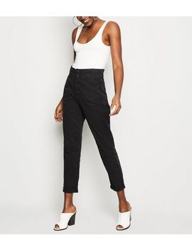 Black Button Placket Paperbag Jeans by New Look
