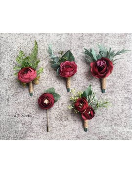Burgundy Greenery Boutonniere Dark Red Boutineer Fall Wedding Rustic Corsage Silk Buttonholes Faux Fake Rose Camellia Fern Eucalyptus Lapel by Etsy