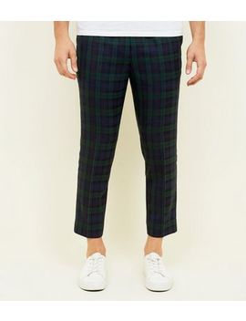 Navy And Green Check Pull On Trousers by New Look