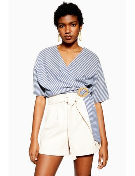 Stripe Buckle Wrap Blouse by Topshop