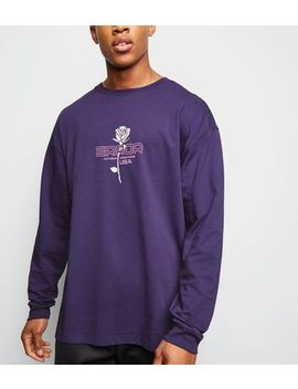 Purple Error Slogan Long Sleeve T Shirt by New Look