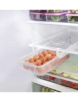 Smart Design Refrigerator Pull Out Bin & Home Organizer W/Extendable Rails & Handle   Bpa Free   For Fridges & Freezers Food Storage   Kitchen (Egg Drawer) by Smart Design