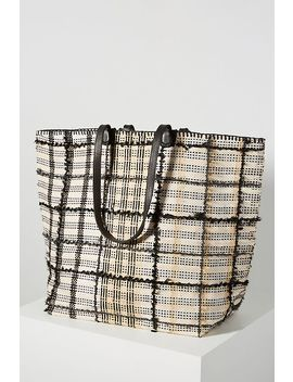 En Shalla Woven Plaid Tote Bag by En Shalla