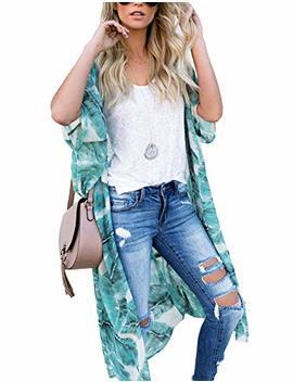Chain Joy Women's Chiffon Long Kimono Sheer Loose Cardigan Lightweight Breathable Cover Ups by Chain Joy