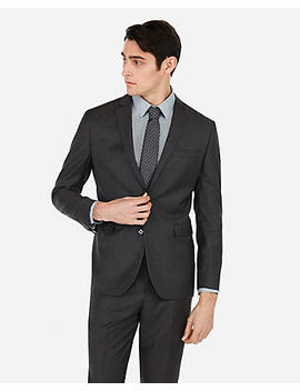 Slim Charcoal Wool Blend Stretch Suit Jacket by Express
