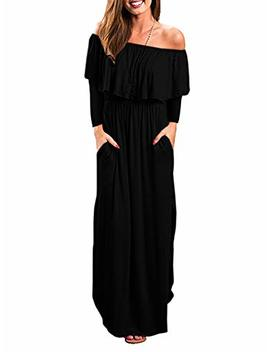 Gamisote Womens Off The Shoulder Plus Size Ruffle Casual Long Maxi Dresses With Pockets by Gamisote