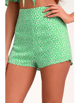 Nedra Green Print Shorts by Lulus