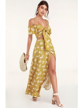 High Heights Mustard Yellow Floral Print Maxi Skirt by Billabong X Sincerely Jules