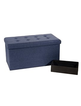 "Seville Classics Foldable Storage Bench/Footrest/Coffee Table Ottoman, 31.5'' W X 15.7"" D X 15.7"" H, Midnight Blue by Seville Classics"