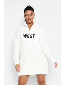 West Zip High Neck Borg Sweat Dress by Boohoo