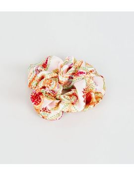 Pale Pink Paisley Print Scrunchie by New Look