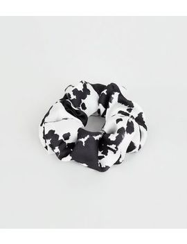 Black Cow Print Scrunchie by New Look