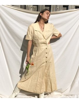 Vintage Cream Linen Button Down Collared Maxi Dress, Size S M by Etsy