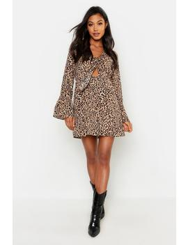 Satin Leopard Knot Front Flared Sleeve Dress by Boohoo