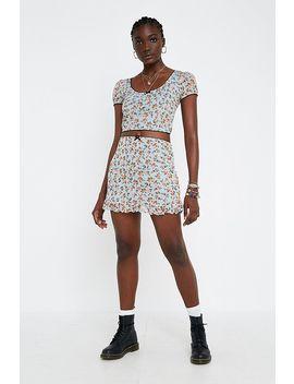Urban Renewal Remnants Peach Mesh Peplum Skirt by Urban Renewal