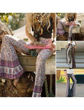Women Boho Hippie High Waist Loose Wide Leg Flared Bell Bottom Flroal Long Pant by Hirigin