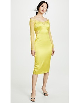 Pencil Dress With Long Sleeve Lace Underlay by Cushnie