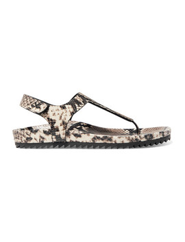 Amalia Snake Effect Leather Sandals by Pedro Garcia