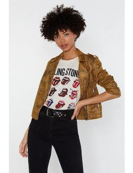 Snake What's Yours Faux Leather Moto Jacket by Nasty Gal