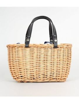 Brown Gingham Lined Basket Bag by New Look