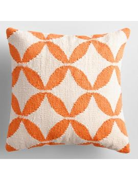 Bright Orange Petals Woven Indoor Outdoor Throw Pillow by World Market