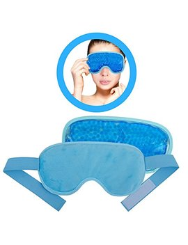 Ice Eye Mask By Fomi Care | Cooling Technology For Relaxing Sleep | Blackout For Airplane Travel | Migraine Headache, Eye Puffiness, Dark Circle Relief | Reusable Ankle Wrap | Fabric Backing (Blue) by Fomi