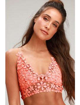 Miss Dazie Coral Pink Crochet Lace Bralette by Free People