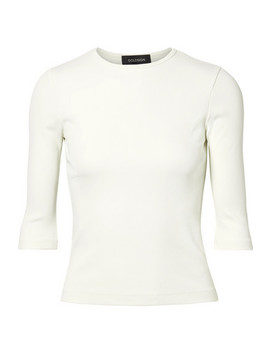 The Rib Stretch Cotton Blend Jersey Top by Goldsign