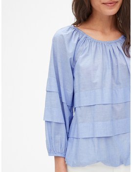 Tiered Pleated Blouson Sleeve Top In Chambray by Gap