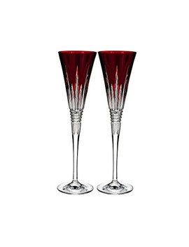 Waterford Lismore Diamond Toasting Flute Pair Red by Waterford