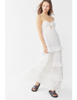 Uo Issa Tiered Ruffle Tie Back Maxi Dress by Urban Outfitters