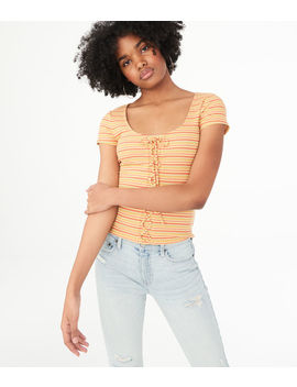 Striped Lace Up Bodycon Top by Aeropostale