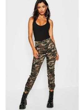 Camo Print Elasticated Hem Cargo Trousers by Boohoo