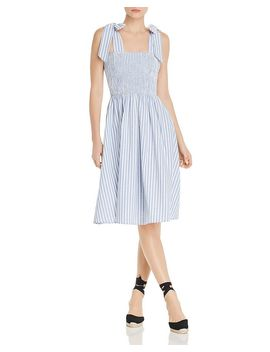 Sleeveless Striped Smocked Midi Dress   100% Exclusive by Aqua