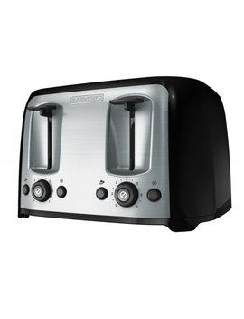 Black & Decker 4 Slice Black & Silver Toaster With Extra Wide Slots, 1 Each by Black+Decker